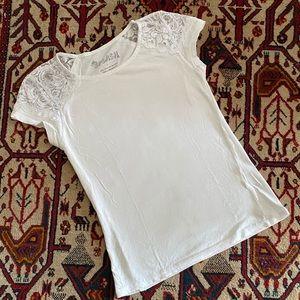 Splash Lace Detailed White Tee Sz L